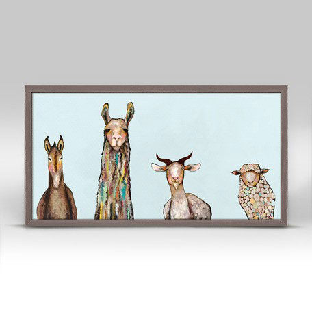 "Donkey Llama Goat Sheep on Sky Blue Mini Print 10"" x 5"""