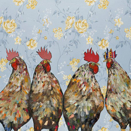Roosters Floral - Giclée Print