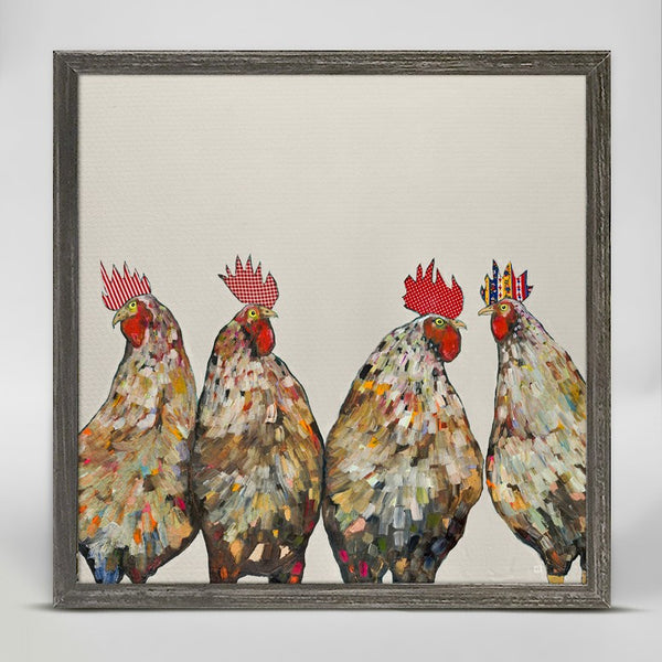 "Roosters on Cream Mini Print 6"" x 6"""