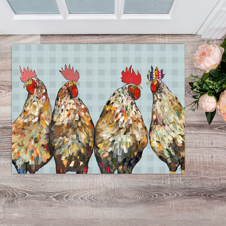 "Roosters in Plaid Floorcloth 30"" x 22.5"""