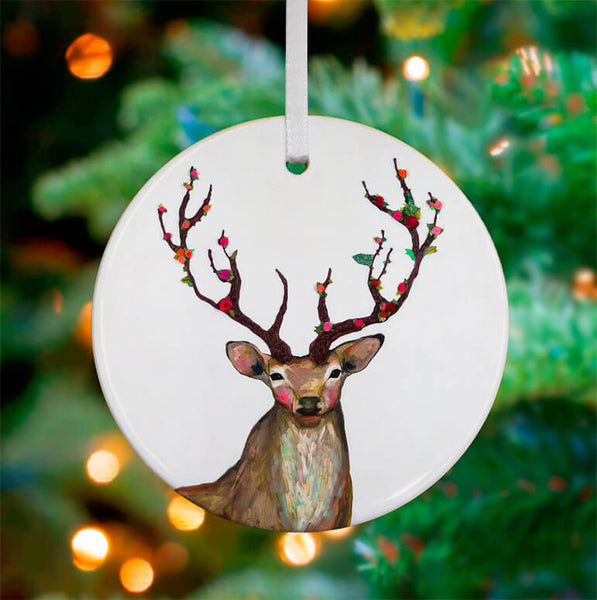 Rosy Buck Ceramic Ornament