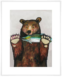 Salmon For Dinner on Soft Pewter - Giclée Print