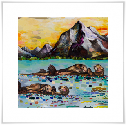 Sea Otters By The Mountains - Giclée Print