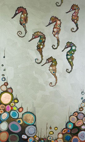 Seahorses on Celery Green - Giclée Print