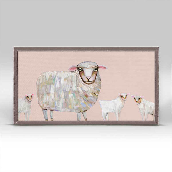 "Sheep and Babies Signed Mini Print 10"" x 5"""