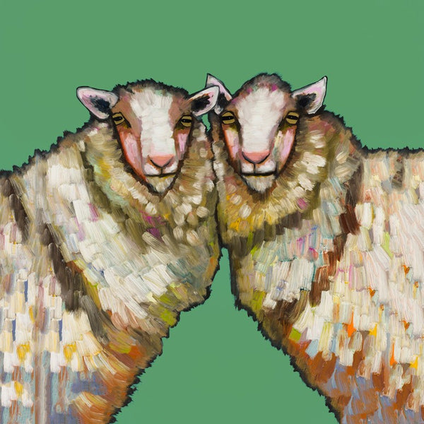 Sheep Duo on Green - Giclée Print