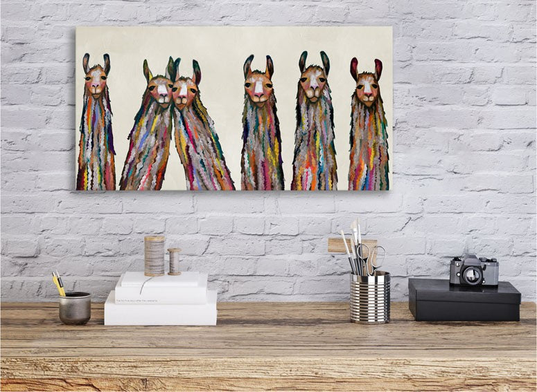 Six Lively Llamas on Cream - Giclée Print