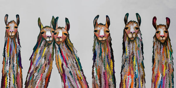 "Six Lively Llamas in Grey Floorcloth 20"" x 40"""