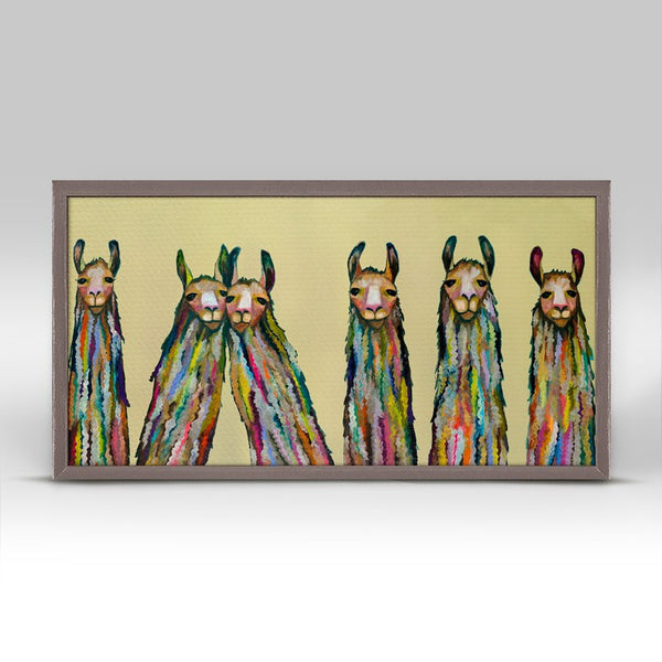 "Six Lively Llamas Mini Print 10"" x 5"""