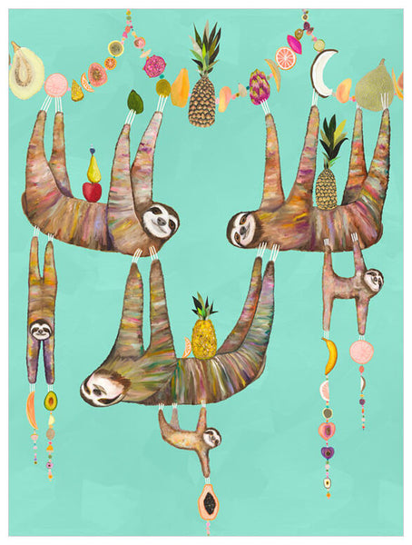 Sloth's Family Fruit Basket Aqua - Giclée Print