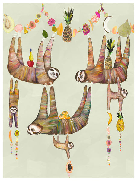 Sloth's Family Fruit Basket - Giclée Print