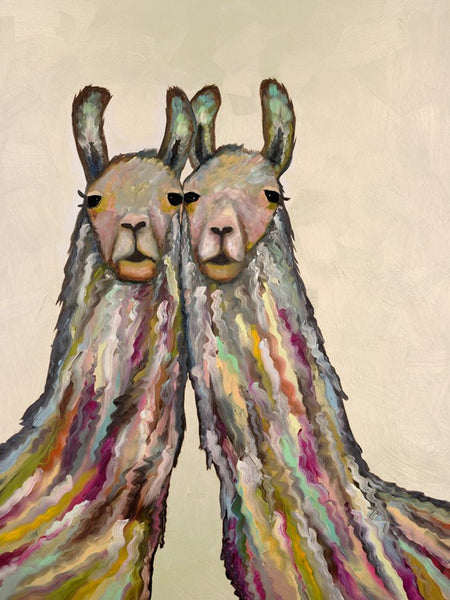 Snuggling Llamas on Cream - Giclée Print