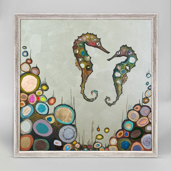 "Seahorses in Celery Green Mini Print 6"" x 6"""
