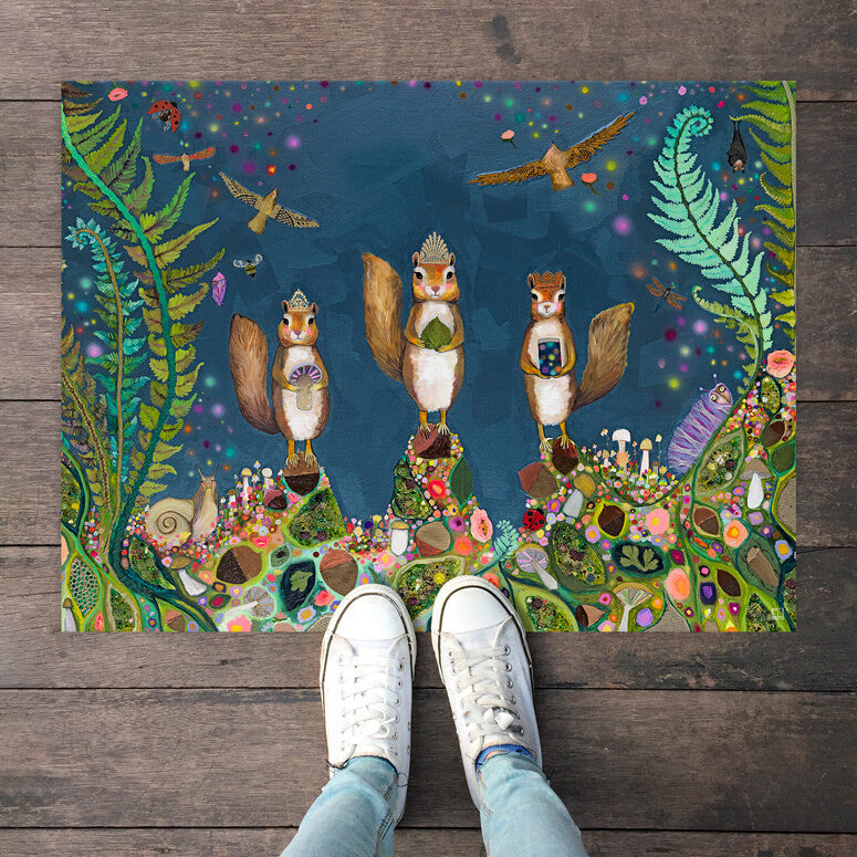 "Squirrel Royale Floorcloth 30"" x 22.5"""