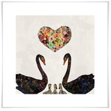Swan Love on Pearl White - Giclée Print