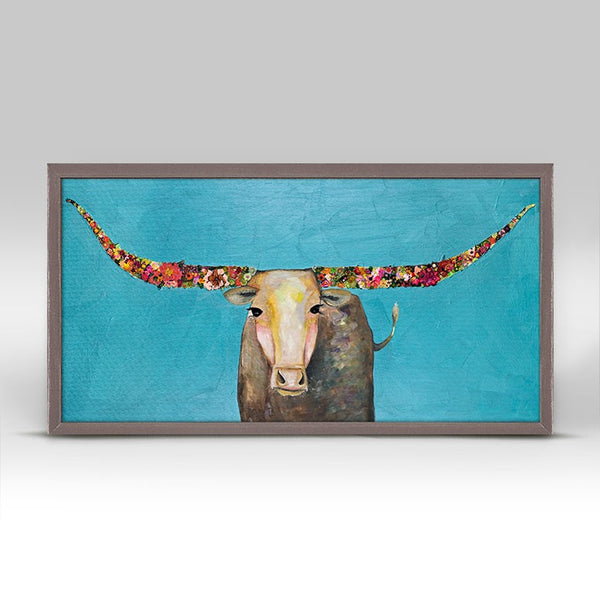 "Swinging Tail Longhorn - Signed Mini Print 10"" x 5"""
