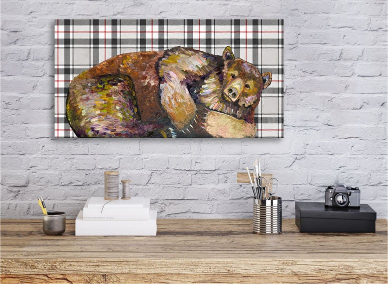 Grizzly Bear Dreams on Tartan - Giclée Print