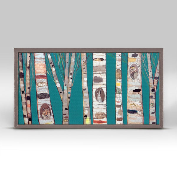 "Teal Birch Trees Mini Print 10"" x 5"""