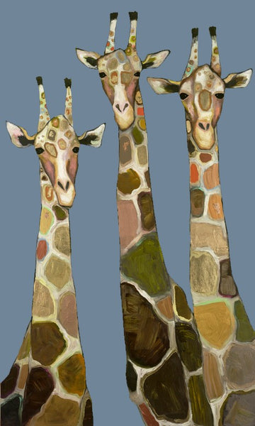 Three Giraffes in Blue - Signed Large Giclée Canvas Print For Austin Tx Delivery Only