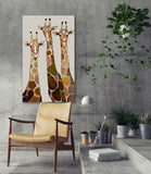 Three Giraffes on Cream - Giclée Print