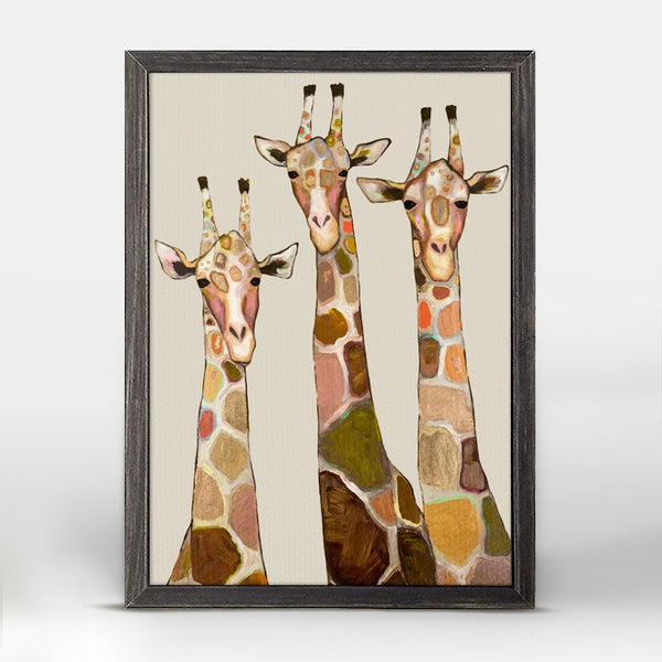 "Three Giraffes on Cream Mini Print 5"" x 7"""
