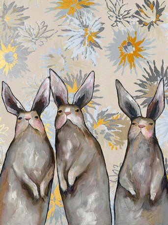 Three Standing Rabbits Floral Metallic Embellished- Giclée Print
