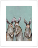 Three Standing Rabbits on Blue - Giclée Print