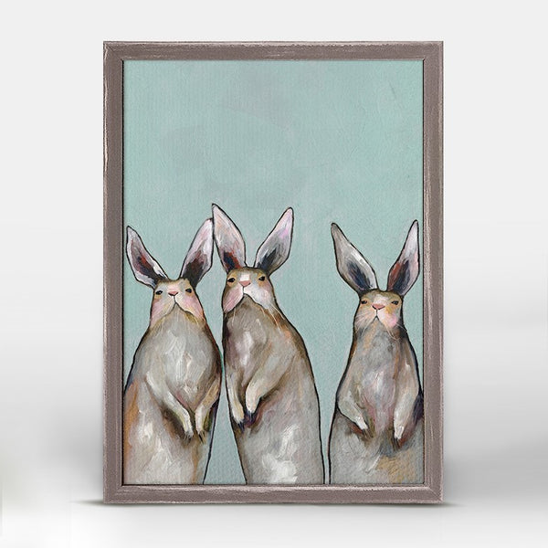 "Three Standing Rabbits on Blue Mini Print 5"" x 10"""