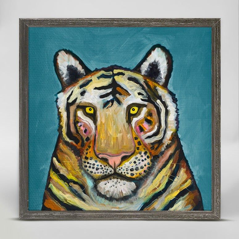 "Tiger on Cerulean Blue Mini Print 6"" x 6"""