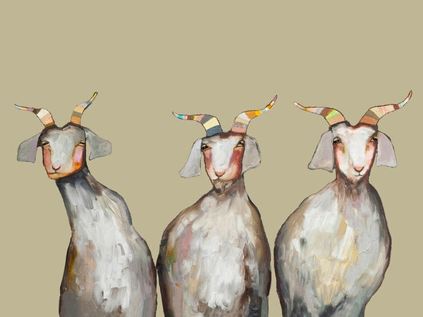 Trio of Goats on Taupe - Giclée Print