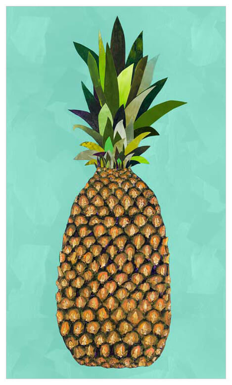 Tropical Pineapple Aqua - Giclée Print