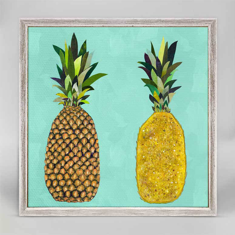 "Tropical Pineapple Pair Aqua Mini Print 6"" x 6"""