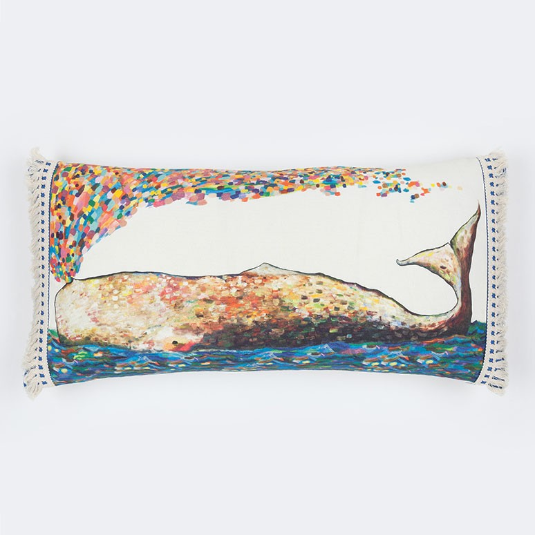 "Whale Spray - Pillow 28"" x 14"""