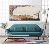 Whale Spray in Antique White - Giclée Print
