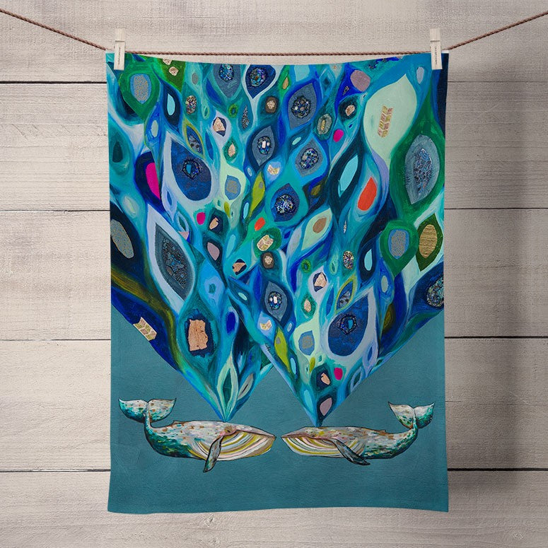 Whales Power Spray Tea Towel
