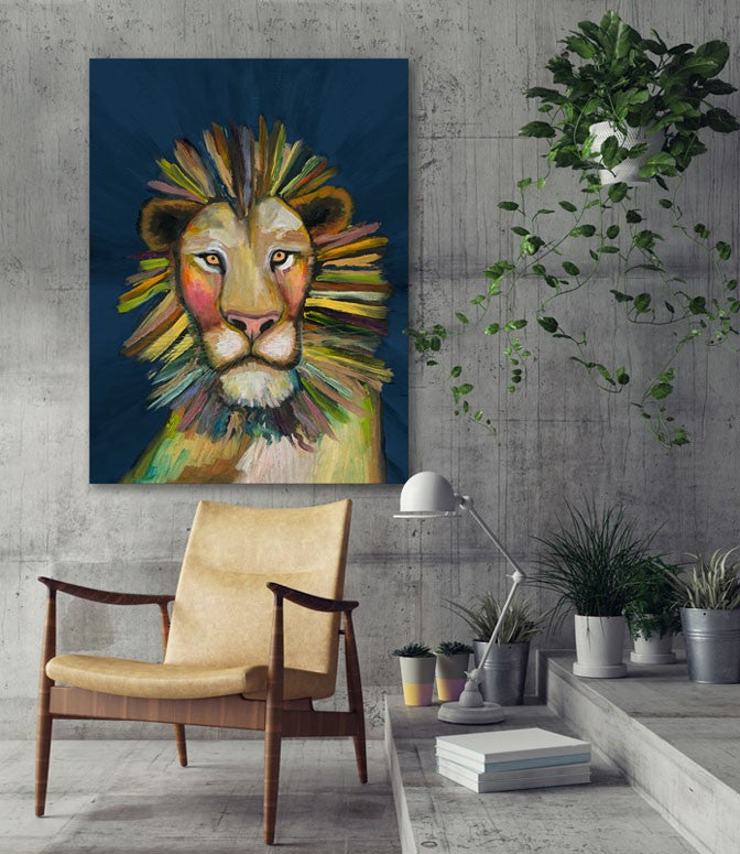 Wild Lion on Blue - Giclée Print