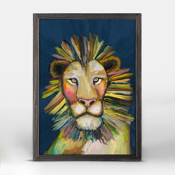"Wild Lion on Blue Mini Print 5"" x 7"""