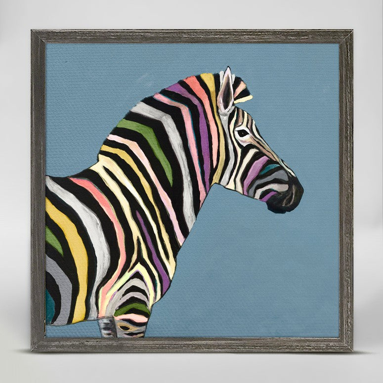 "Wild Zebra on Blue Mini Print 6"" x 6"""