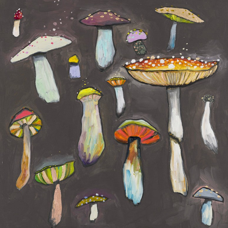 Wild Mushrooms on Grey - Giclée Print