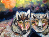 Dancing Wolves - Oil Painting