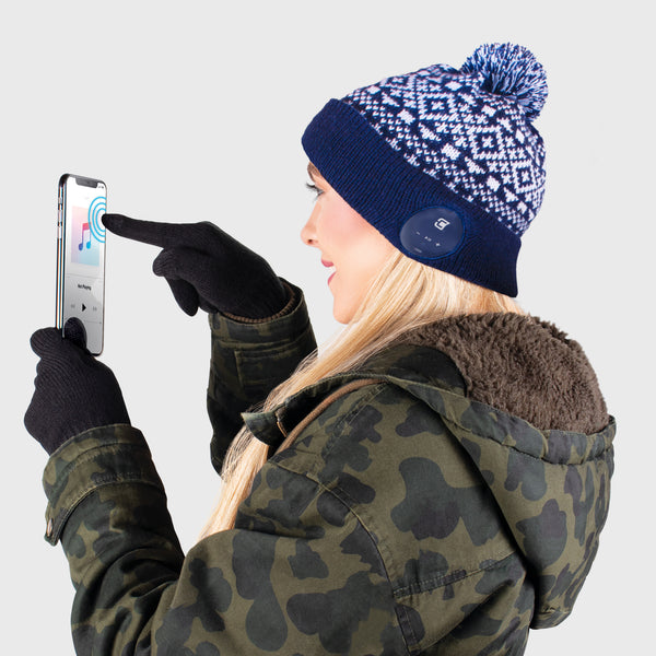 Blu Toque Beanie & Touch Screen Gloves - Navy with Snow Pattern Combo Kit