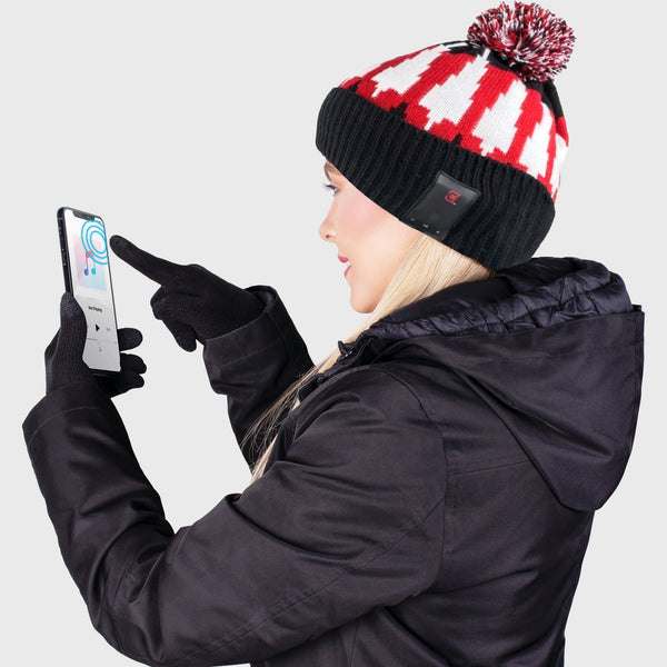 Blu Toque Unisex Bluetooth Beanie With Pom Pom & Touch Screen Gloves - Magma Combo Kit