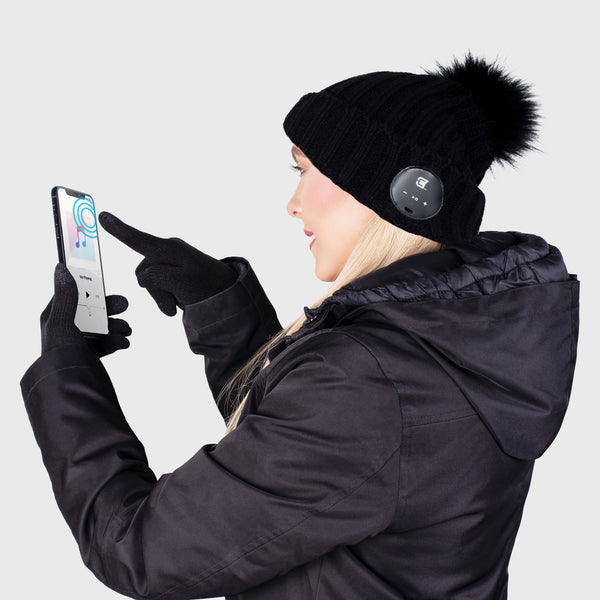 Blu Toque With Black Faux Fur Pom Pom & Touch Screen Gloves - Black Combo Kit