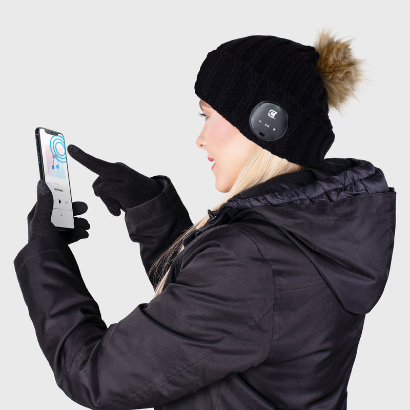 Blu Toque With Brown Faux Fur Pom Pom & Touch Screen Gloves - Brown Combo Kit