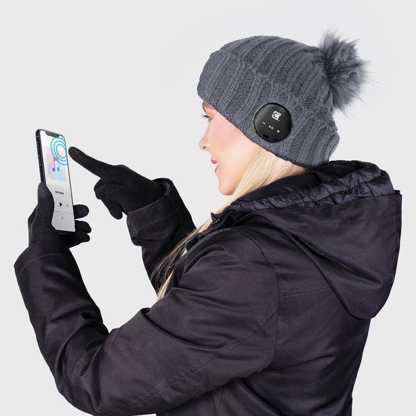 Blu Toque With Grey Faux Fur Pom Pom & Touch Screen Gloves - Ash Grey Combo Kit