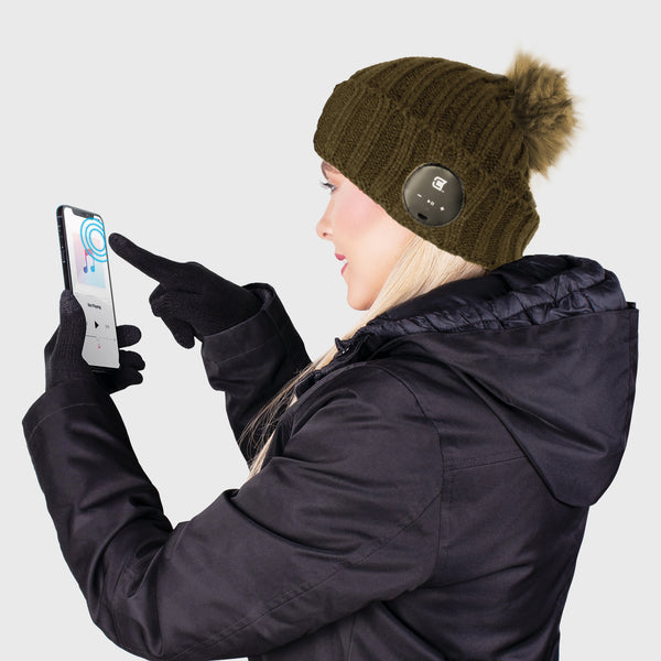 Blu Toque With Olive Green Faux Fur Pom Pom & Touch Screen Gloves - Olive Green Combo Kit