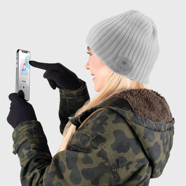 Blu Toque Wide Ribbed & Touch Screen Gloves - Grey Combo Kit