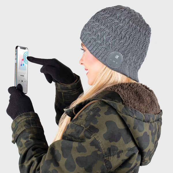 Blu Toque Beanie & Touch Screen Gloves - Cable Knit Grey Combo Kit