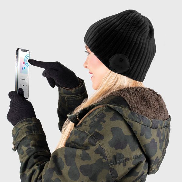 Blu Toque Wide Ribbed & Touch Screen Gloves - Black Combo Kit
