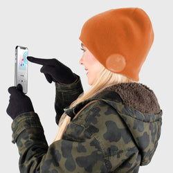 Blu Toque Dual Layered Beanie & Touch Screen Gloves - Orange Combo Kit